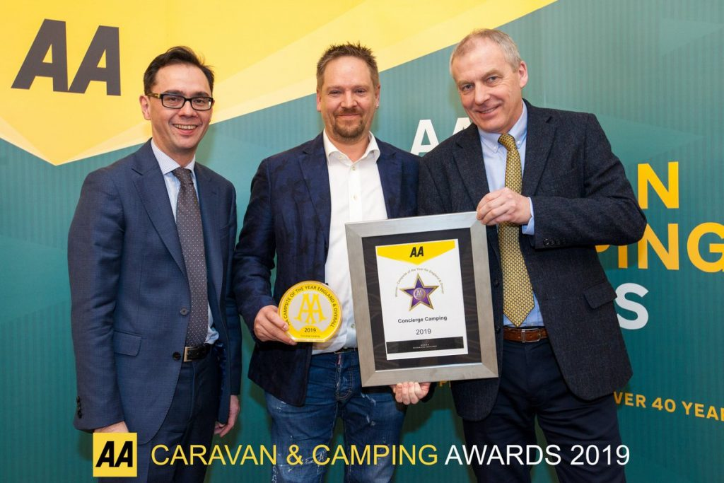 AA campsite of the year award 2019. Guy Hodgkin.